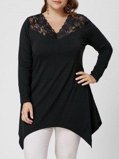 Lace Trim Manga Larga Asymmetirc Plus Size Tee - Negro 5xl