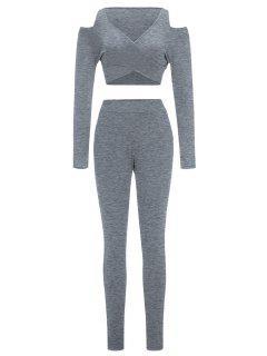 Cold Schulter Crop Top Und Skinny Pants - Grau S