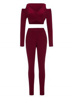 Cold Shoulder Crop Top And Skinny Pants - Wine Red Xl