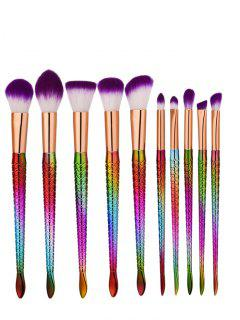 10Pcs Glitter Multipurpose Mermaid Makeup Brushes Set - Purple