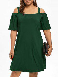 Plus Size Cold Shoulder Half Sleeve Dress - Blackish Green 3xl