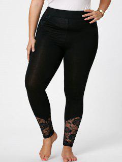 Plus Size Lace Insert Skinny Pants - Black 4xl