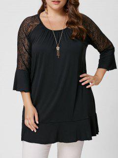 Lace Trim Plus Size Tunic Tee - Black 4xl