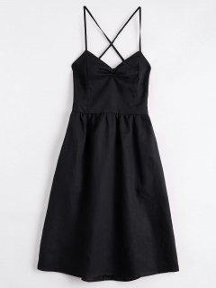 Open Back Criss Cross Ruched Cami Dress - Black M