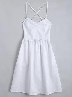 Open Back Criss Cross Ruched Cami Dress - White M
