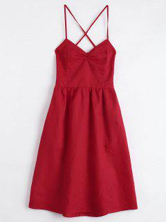 Open Back Criss Cross Ruched Cami Dress - Red M
