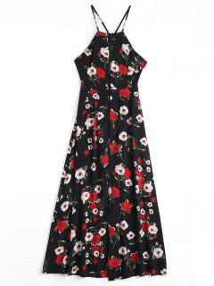 Floral Print Criss Cross Cami Dress - Black Xl