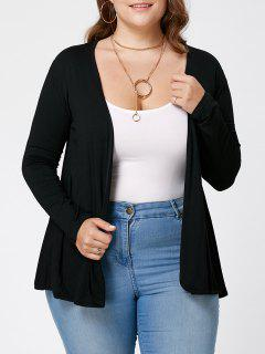 Plus Size Lace Trim Sheer Cardigan - Black 3xl