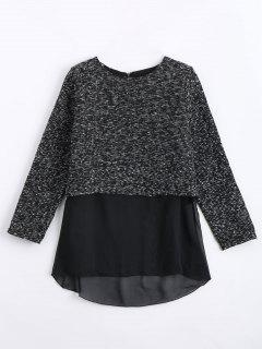 Chiffon Panel Jacquard Blouse - Black S