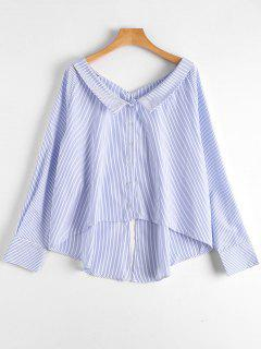 Back Slit Striped High Low Blouse - Stripe M