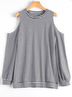 Cold Shoulder Long Sleeve Striped Tee - Stripe L