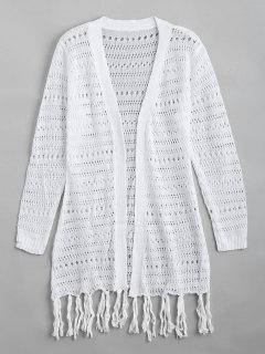 Open Front Sheer Tassels Cardigan - White S