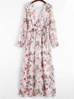 Plunging Neck Floral Print Belted Dress - Floral M