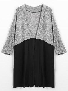 Two Tone Open Front Cardigan - Black And Grey L
