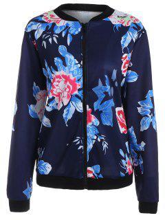 Veste à Manches Longues Florale - Bleu Violet Xl