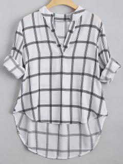 V Neck Checked High Low Blouse - Checked M