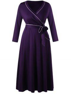 Long Sleeve Plus Size Formal Wrap Dress - Concord 3xl