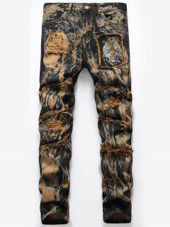 Tie Dye Tiger Embroidery Distressed Jeans - Earthy 42