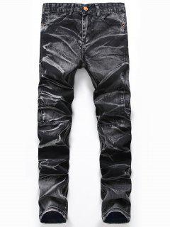 Tie Dye Straight Leg Jeans - Deep Gray 42