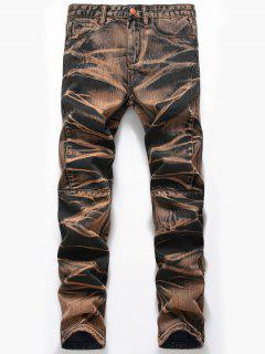 Tie Dye Straight Leg Jeans - Earthy 38