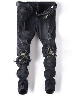 Slim Fit Distressed Biker Jeans - Black 32