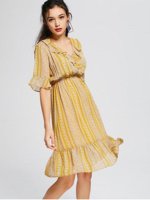 best Tiny Floral Empire Waist Ruffles Midi Dress - YELLOW ONE SIZE(FIT SIZE XS TO M) Mobile