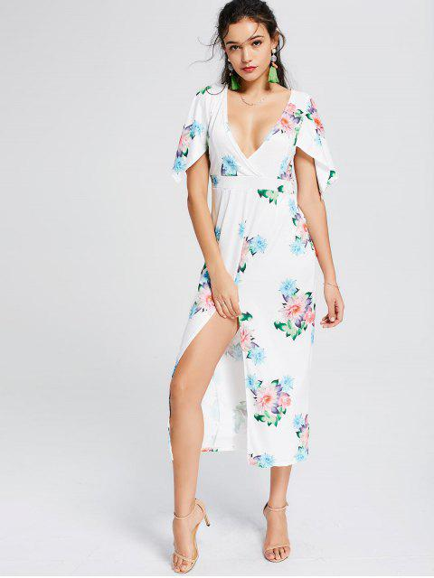 affordable Front Slit Floral Surplice Midi Dress - FLORAL XL Mobile