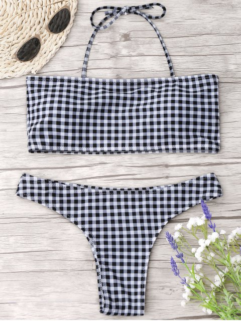 fashion Checked Halter Thong Bikini Set - CHECKED M Mobile