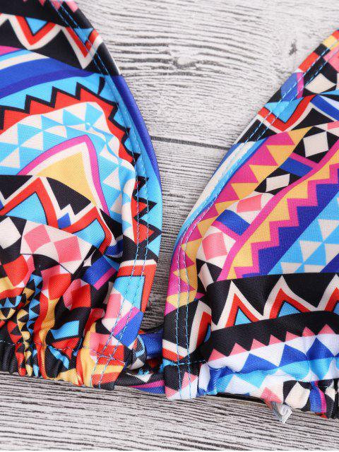 sale Halter Geometric Pattern String Bikini - COLORMIX S Mobile