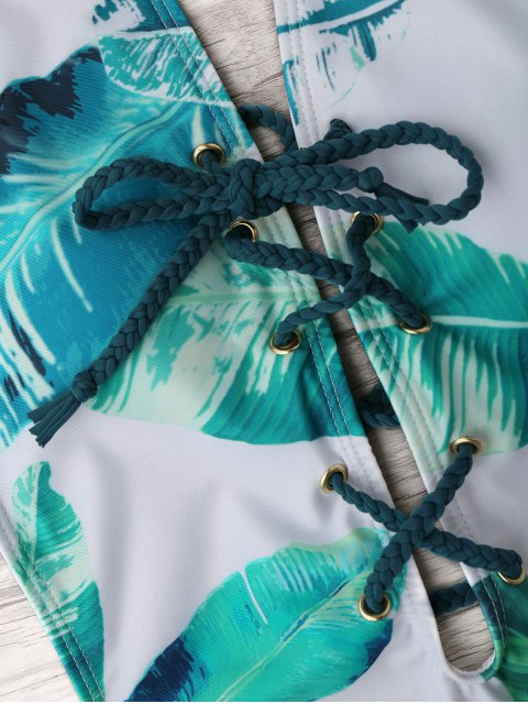 affordable Palm Leaf Lace-up One Piece Swimsuit - WHITE AND GREEN L Mobile