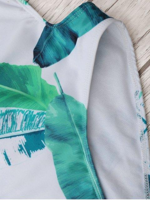 Maillot de bain à lacets en laine Palm Leaf - Blanc et vert M Mobile