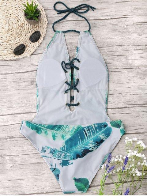 Maillot de bain à lacets en laine Palm Leaf - Blanc et vert S Mobile