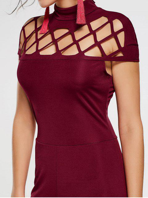 outfits High Neck Cut Out Jumpsuit - WINE RED S Mobile