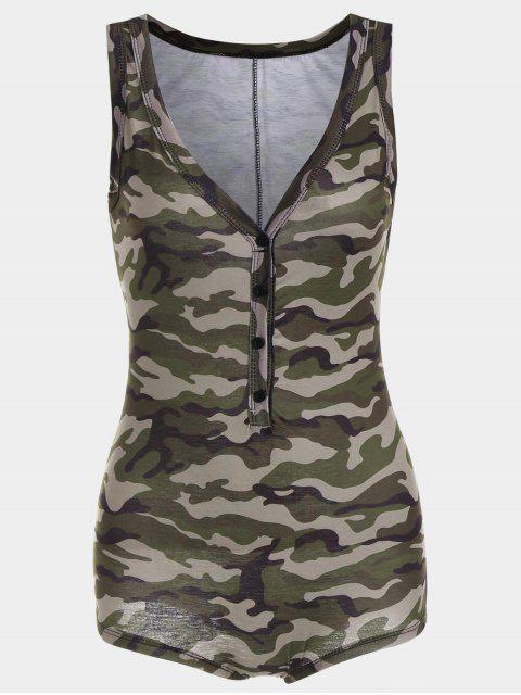 shops Plunging Neck Sleeveless Camouflage Bodysuit - CAMOUFLAGE L Mobile