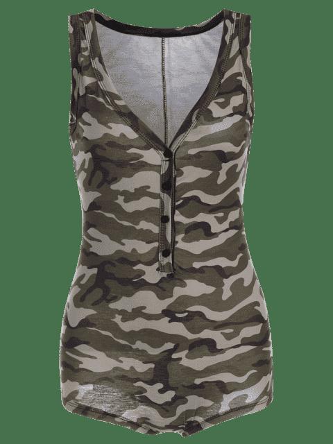 latest Plunging Neck Sleeveless Camouflage Bodysuit - CAMOUFLAGE XL Mobile