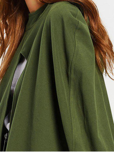 affordable Plain Hooded Cape Coat - ARMY GREEN M Mobile