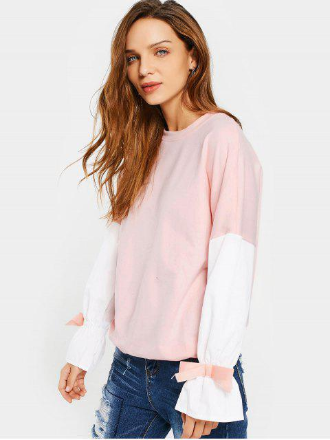 new Flare Sleeve Bowknot Contrast Tee - PINK M Mobile
