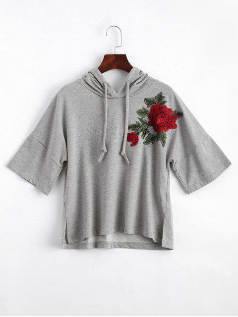 Sudadera con capucha bordada floral de los remi - Gris S Mobile