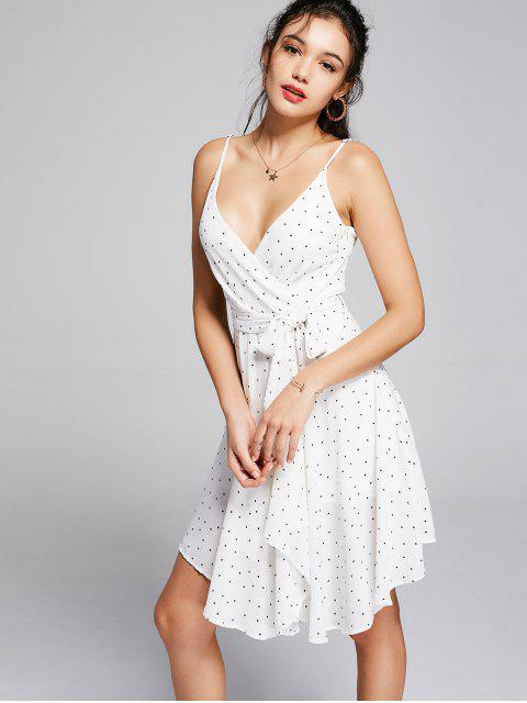 fancy Belted Polka Dot Asymmetrical Dress - WHITE AND BLACK M Mobile