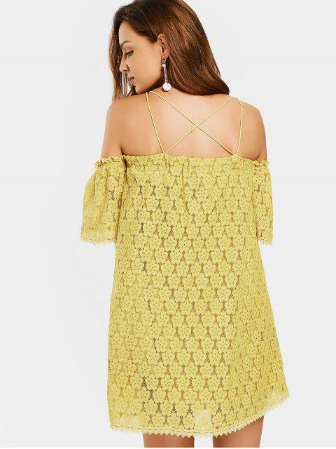 ladies Cold Shoulder Floral Cami Lace Dress - YELLOW S Mobile