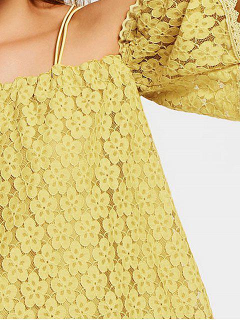 online Cold Shoulder Floral Cami Lace Dress - YELLOW M Mobile