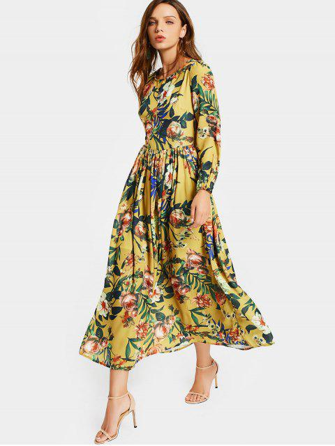 shop Round Collar Floral Print Long Sleeve Dress - FLORAL M Mobile