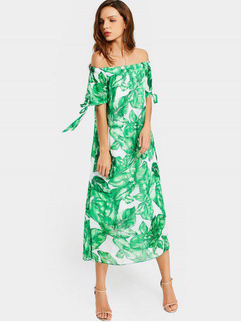 El vestido de impresión de hojas de hombro - Blanco y Verde L Mobile