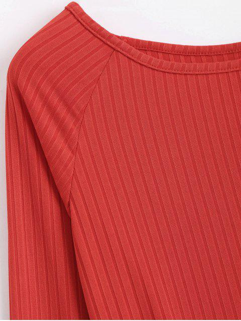 outfits Long Sleeve Ribbed Bodycon Mini Dress - RED M Mobile