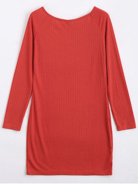 latest Long Sleeve Ribbed Bodycon Mini Dress - RED L Mobile