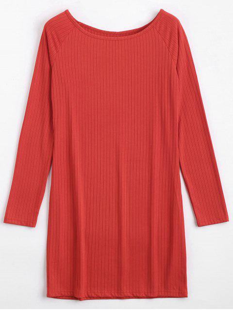 chic Long Sleeve Ribbed Bodycon Mini Dress - RED XL Mobile