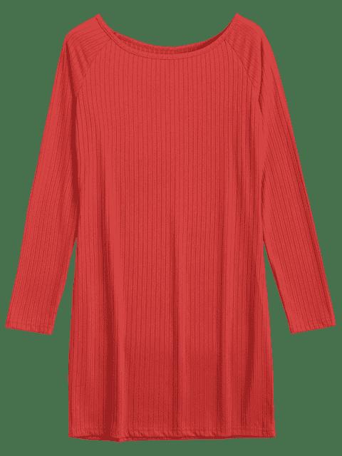 Robe miniature à manches longues Bodycon - Rouge 2XL Mobile