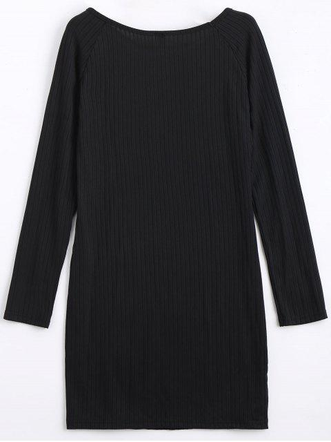 womens Long Sleeve Ribbed Bodycon Mini Dress - BLACK 2XL Mobile