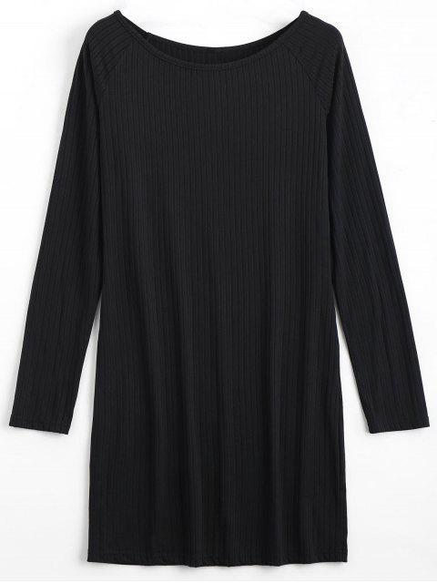 ladies Long Sleeve Ribbed Bodycon Mini Dress - BLACK XL Mobile