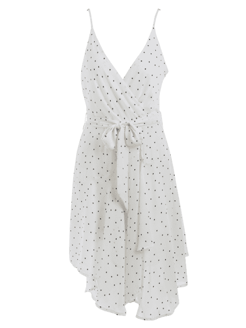 outfits Belted Polka Dot Asymmetrical Dress - WHITE AND BLACK L Mobile